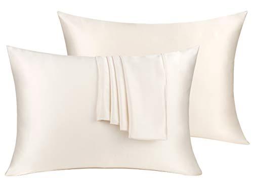Natural Silk Pillowcase Set of 2 for Hair &Skin - Both Sides 19 Momme 600 Thread Count with Hidden Zipper (Buff Beige, Standard)