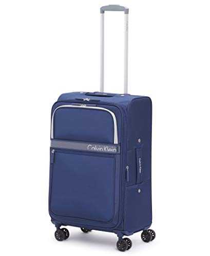 Calvin Klein Lincoln Square Expandable Softside Spinner Luggag, Navy, 25 Inch