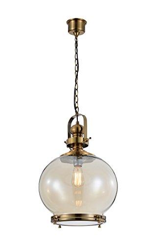 Mantra Iluminación Vintage Lámpara de Techo, Cristal, Cuero, 33 x 33 x 196 cm