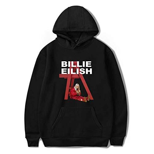 Flyself Unisex Billie Eilish Felpa con Cappuccio con Logo Grafico e Letterale Casual Tinta Unita Streetwear Hoodie Sweatshirt con Tasca per i Fan
