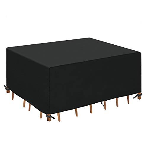 HEIMUNI Copertura per Mobili da Giardino, Copertura per Tavolo da Esterno Impermeabile Tessuto Oxford Anti Vento e Anti-UV Coperture per Set di Mobile (200x160x70cm)