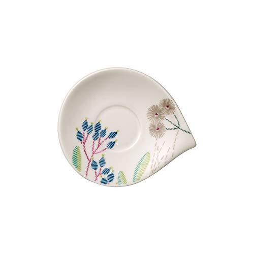Villeroy & Boch Flow Couture Sous-tasse à mokka/expresso, 14x12 cm, Porcelaine Premium, Blanc/Multicolore