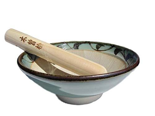 Suribachi & Surikogi Mörser & Stößel, hergestellt in Japan, 20 cm, Hellblau-Grün mit arabischem Muster