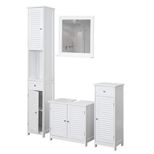 Mendler Badezimmerset HWC-F75, Badmöbel-Set Hochschrank Waschbeckenunterschrank Kommode Wandspiegel, Landhaus weiß