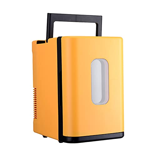Mini Frigorífico Portátil Multifunción Para El Hogar, Coche, 10L De Alta Capacidad, Compatibilidad Con Alimentación De CA + CC, Para El Cuidado De La Piel, Dormitorio, Coche,Amarillo