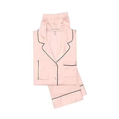 YUHOOE Pijamas De Mujer,Conjunto De Pijamas De Satén De Seda Clásico Color Puro Cuello Vuelto Manga Larga Pjs Ropa De Dormir Sedoso & Comfy Nightwear Loungewear Homewear para Damas,Rosa,XS