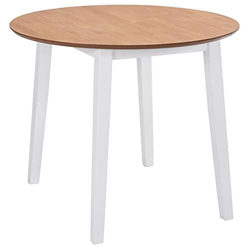 vidaXL Table de Salle à Manger Ronde à Abattant Table à Dîner Table de Repas Table de Cuisine Meuble de Cuisine Maison Intérieur MDF Blanc
