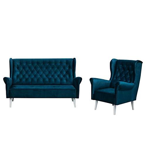 MOEBLO Polstergarnitur Ohrensofa 3 Sitzer Sessel Sofa Couch Garnitur Stoff Samt (Velour) Glamour Wohnlandschaft Chesterfield - Velo (Dunkelblau)