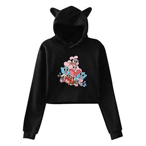 DJNGN Donna Lo Straordinario Mondo di Gumball Midriff con Cappuccio Cat Orecchie Maniche Lunghe Moda con Cappuccio Nera