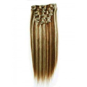 35,6 cm 70 grammes fin court 100% Remy extensions de cheveux humains 7 pièces neuf Clip dans brun cendré avec mèches Blond décoloré