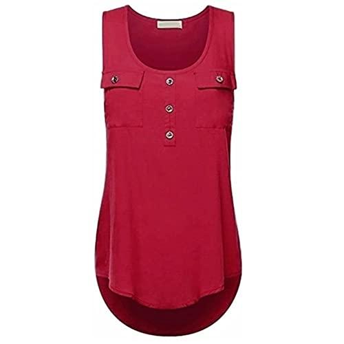 Camiseta Sin Mangas Mujer Verano Cómoda Elegante Suelta Moda Cuello Redondo Sin Mangas Top Bolsillo Decoración Vacaciones Casual Nueva Mujer Camisa H-Red XXL