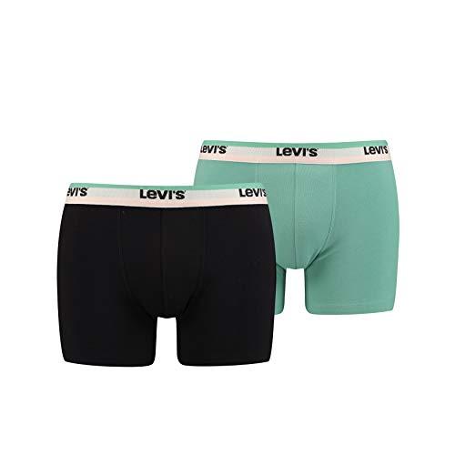 Levi's Levis Men Sprtswr Logo Boxer Brief 2p, Multicolor (Mint Combo 001), X-Large (Talla del Fabricante: 040) (Pack de 2) para Hombre