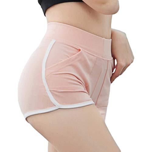Pantalones Cortos para Mujer Verano Casual Pantalones Cortos de Moda de Color sólido Simple con Bolsillos Pantalones Cortos Deportivos Ajustados Diarios para Correr M
