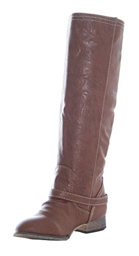 Hot Sale Breckelles Outlaw 81 Women's Riding Boots Knee High Faux Leather,Outlaw-81v4.0 Tan 11