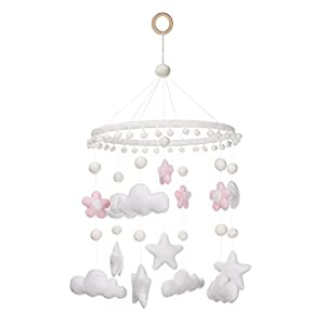 Baby Mobile for Crib Girl – Clouds, Stars and Flowers for Nursery Decor Custom Made Baby Shower for Kids Gift