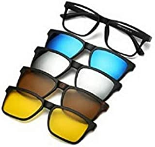 Unisex unisex basic frame with four extra magnet frames in assorted colors Polarized lenses sunglasses inside the leather ...