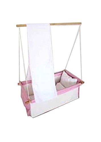 Baby Schaukel Hängewiege Hängematte Wiege Stubenwagen Komplett-Set mit Seilen Himmelstange Himmel und Wäscheset PINK ROSA