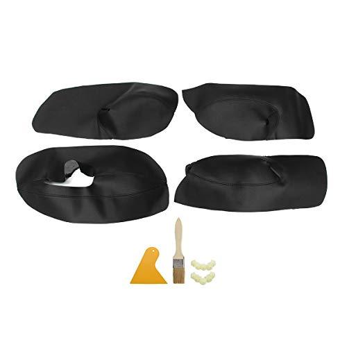 DONGNIE 4 unids Coche Interior Panel de Puertas apoyabrazos Brazos de reposabrazos de Cuero de Microfibra Cubierta Protector Ajuste para V Bora Golf 4 2002-2006 (Color : Black Black Line)