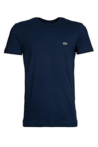 Lacoste - Camiseta con Cuello Redondo de Manga Corta para Hombre, Talla 2XL, Color Azul Marino 166
