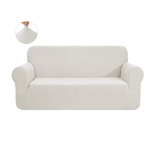CHUN YI 1-Stück Sofa Überwürfe Sofabezug Jacquard Elastische Stretch Spandex Couchbezug Sofahusse Sofa Abdeckung (2 Sitzer, Creme)