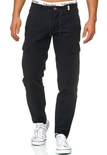 Indicode Herren Leonardo Cargohose aus 55% Leinen & 45% Baumwolle m. 6 Taschen | Lange Regular Fit Cargo Hose Baumwollhose Leinenhose Freizeithose Bequeme Stoffhose f. Männer Navy XL
