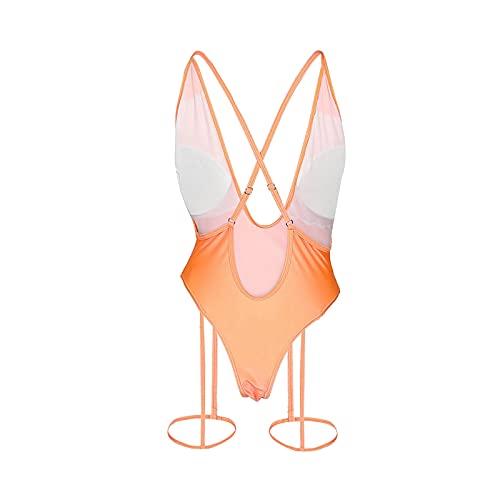 ANMERWT Pyjamas pour Femmes D'été sans Manches sous-Vêtements en V Profond Bandage Dos Nu Lingerie Mince (Orange, L)