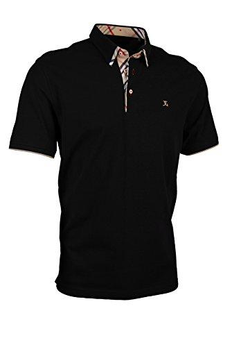 Premium-Poloshirt von Giorgio Capone, einzigartiger Hemdkragen, Pique-Stoff 100% Baumwolle, Schwarz, Regular Fit (L)