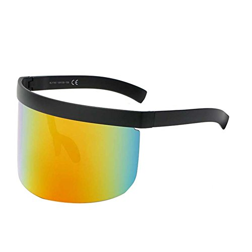 Sudook Funky Sonnenbrille für Männer Frauen extra Oversize Visier Shield Maske Elegant verbundene Gläser, glasses-5