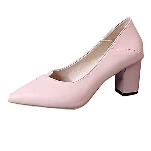 MRULIC Damen Basic Business Schuhe Spitzenschuhe Einzelne Schuhe Blockabsatz Mit formeller Arbeitskleidung(Rosa,39 EU)