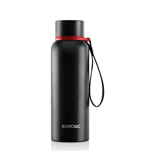 Borosil Stainless Steel Hydra Trek - Vacuum Insulated Flask Water bottle, Black, 700ML