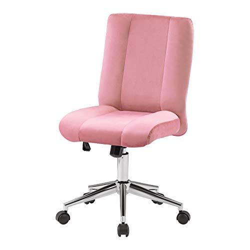 Huyghdfb Velvet Home Office Chair with Back Support, Height Adjustable and Reclining 360° Swivel High-Elasticity Sponge Seat (Pink, One Size)