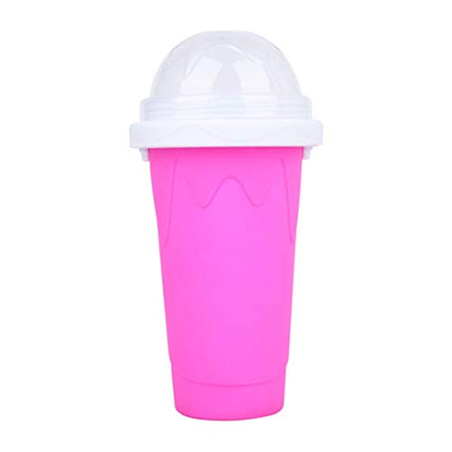 2021 DIY Homemade Smoothie Cups Freezes Drinks Cup Double Layer,DIY Slushie Maker Cup,Quick Frozen Smoothies Slushy Ice Cream Maker for Children (rose Red)