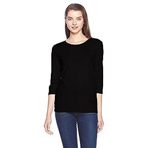 [セシール] Tシャツ レギュラー丈 シンプル クルーネック 七分袖 NB-531 レディース ブラック 日本 L-(日本サイズL相当)
