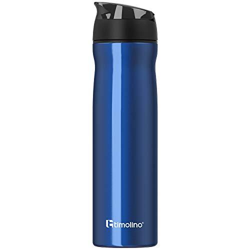 Timolino Botella de agua de acero inoxidable prémium, botella de agua para deportes, ocio, camping, 700 ml, a prueba de fugas, resistente a los arañazos, color azul