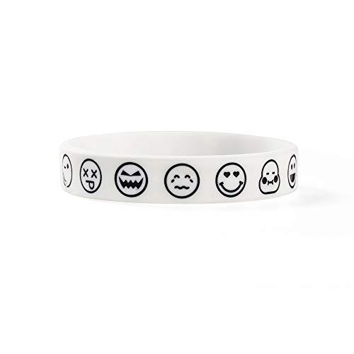 Silicone Bracelet Original Smiley Face Express Silicone Bracelet, Men And Women Fashion Personality Wrist Belt Couple (Color : White)