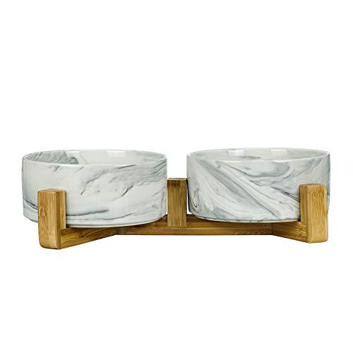 HCHLQLZ Marmo Nero Ceramica Ciotole per Cani Gatti Ciotola Cane Gatto per Cibo Acqua -Combinato con Supporto in bambù-Confezione da 2