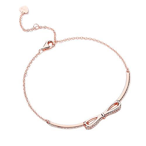 S925 brazalete de lazo de oro rosa chapado en plata de ley con brazalete de todo fósforo de diamantes brazalete pequeño y fresco Aniversario de bodas día de la madre regalo de cumpleaños de navidad