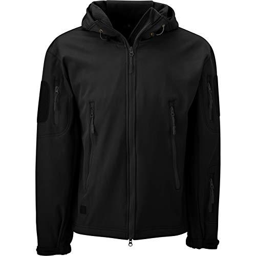 Savage Cut Waterproof Military Tactical Softshell Hooded Fleece Insulated Jacket(Black,XLarge)