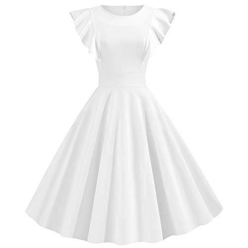 SHINEHUA Damen 50er Jahre Audrey Hepburn Vintage Kleid Rockabilly Cocktail Partykleid Kurzarm Rundhal Abendkleider Elegante Ballkleid Knielang festlich Brautjungfernkleider