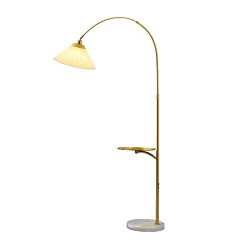 Luces Decorativas Lámpara de pie Lámpara de pie clásica Luz del polo alto del vintage for la sala de estar del dormitorio con el tambor de lino blanco y la bandeja Lámparas (Color : Brass)