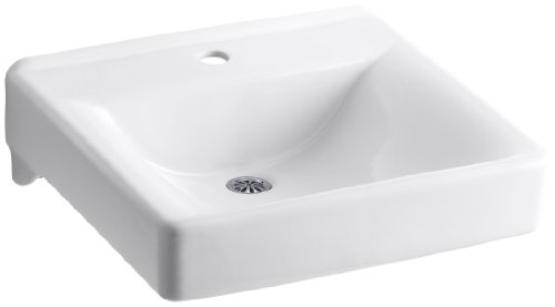 KOHLER K-2084-N-0 Soho Wall-Mount Bathroom Sink with Single-Hole Faucet Drilling and Sealed Overflow, White