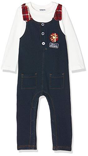 MEK Baby-Mädchen Completo 2 Pezzi Salopette E T-Shirt Jersey Bekleidungsset, Blau (Blu Scuro (Jeans) 01 289), 92 (Herstellergröße: 24M)