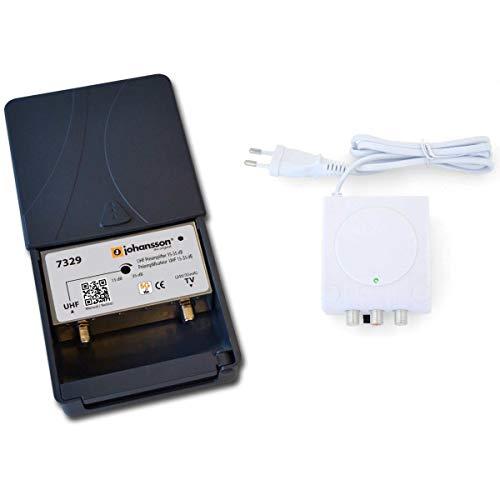 Johansson - Kit preamplificador de antena de TV para TDT HD con filtro 5G/LTE activo y fuente de alimentación, kit preamplificador UHF 15 a 35 dB + alimentación Johansson