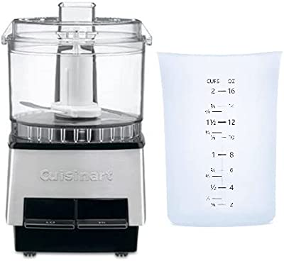 Cuisinart DLC-1SS Mini-Prep Food Processor (Brushed Metal) Bundle with Silicone Measuring Cup (2-Cup Capacity) (2 Items)