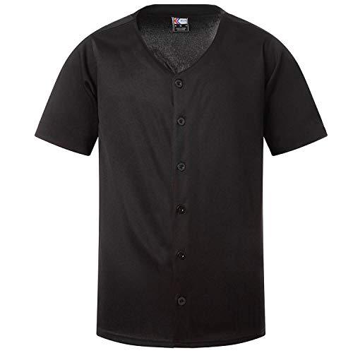 MOLPE Mens Baseball Jersey Active Team Sports Uniforms Button Down Shirts (Black, M)