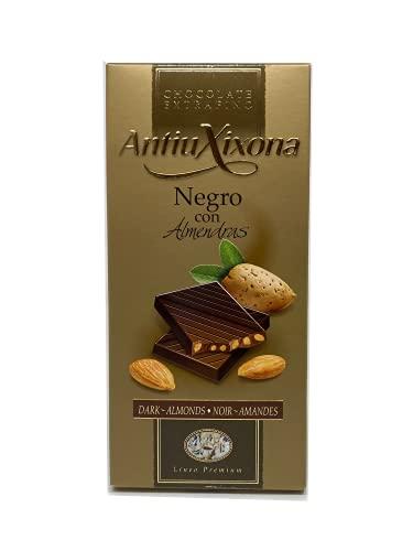 Antiu Xixona Premium - Chocolate Negro con Almendras, 125 Gramos