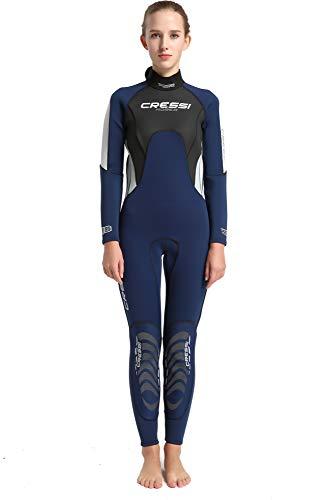 Cressi Morea Lady Monopiece Wetsuit 3mm Traje de Buceo Neopreno, Women's, Azul/Gris/Plata, XXL/6
