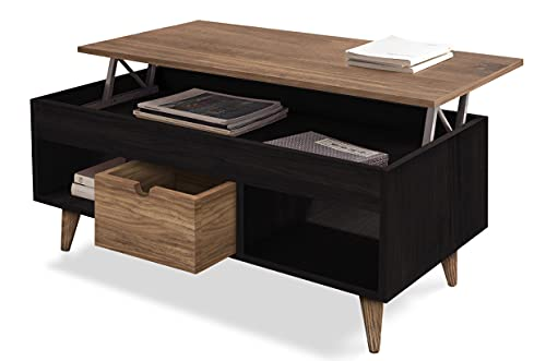 HOGAR24 ES - Atelier-Mesa Centro Elevable Madera Maciza Natural, Color Encerado y Negro. Medidas; 100cm x 50cm x 47cm.
