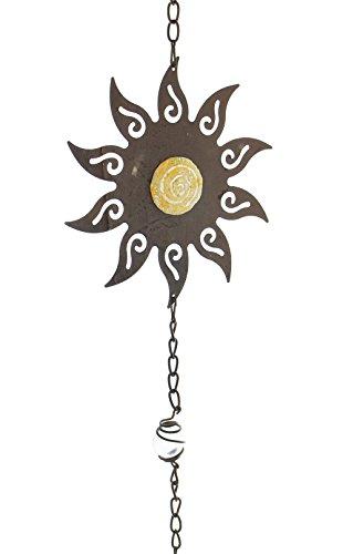 FRANK FLECHTWAREN, 229813: Metall-Hänger 'Sonne' aus Polystein-Elementen und Glas-Kugeln, 104cm hoch