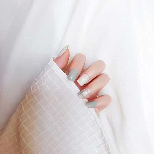 Heng24Pcs Falscher Nagel Vollständiger gefälschter Nagel Kristall Eleganter rosa Farbverlauf Französische Kurze Nägel Ellipsenform Kurzer gefälschter Nagel, hellgrüner Streifen